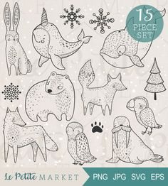 Penguin clipart hand drawn Scrapbooking Animal Hand Clip Graphics
