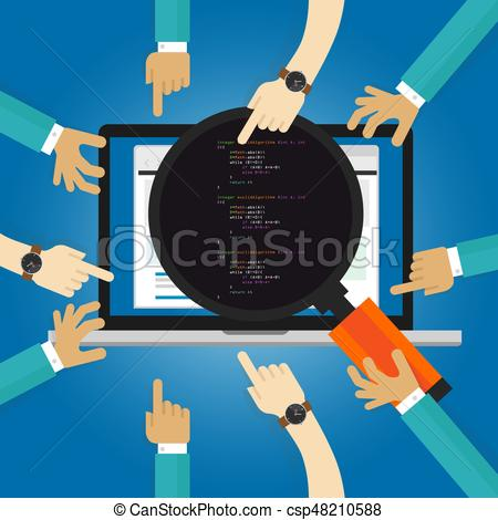 Software clipart client  test revision and coding