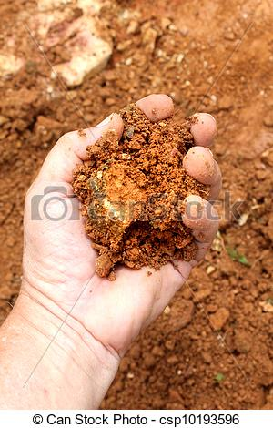 Soil clipart clay soil Of close up soil hand
