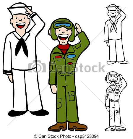 Soldier clipart airforce EPS Force Air Navy isolated