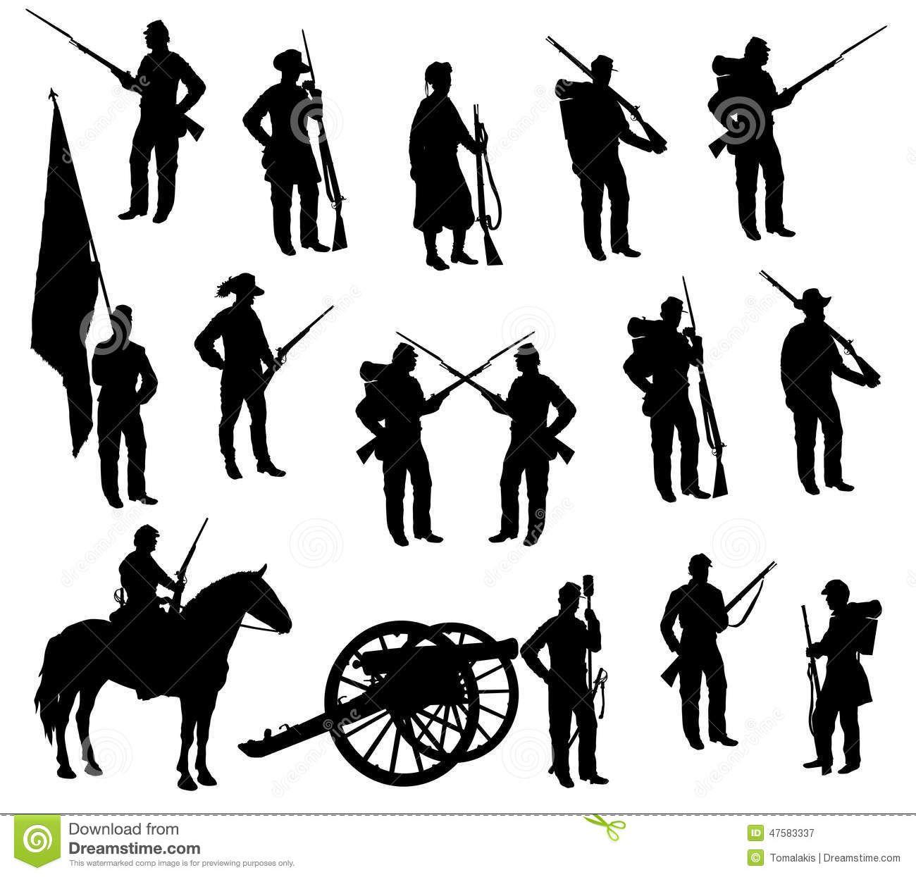 Soldiers clipart american civil war Rifles  of Silhouettes Civil