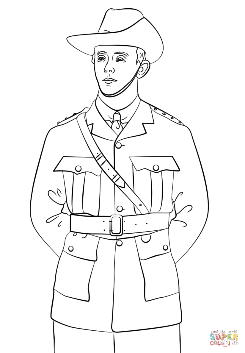 Soldier clipart anzac soldier Free Soldier coloring Printable ANZAC