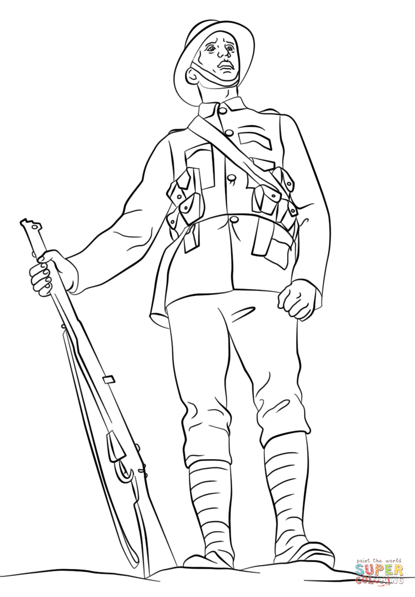 Soldier clipart anzac soldier Coloring WWI Coloring British page