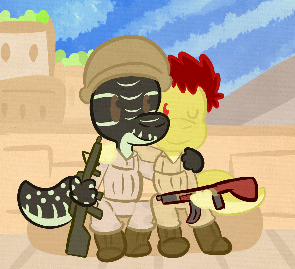 Soldier clipart couple Buddies gecko (Commission) A Weasyl