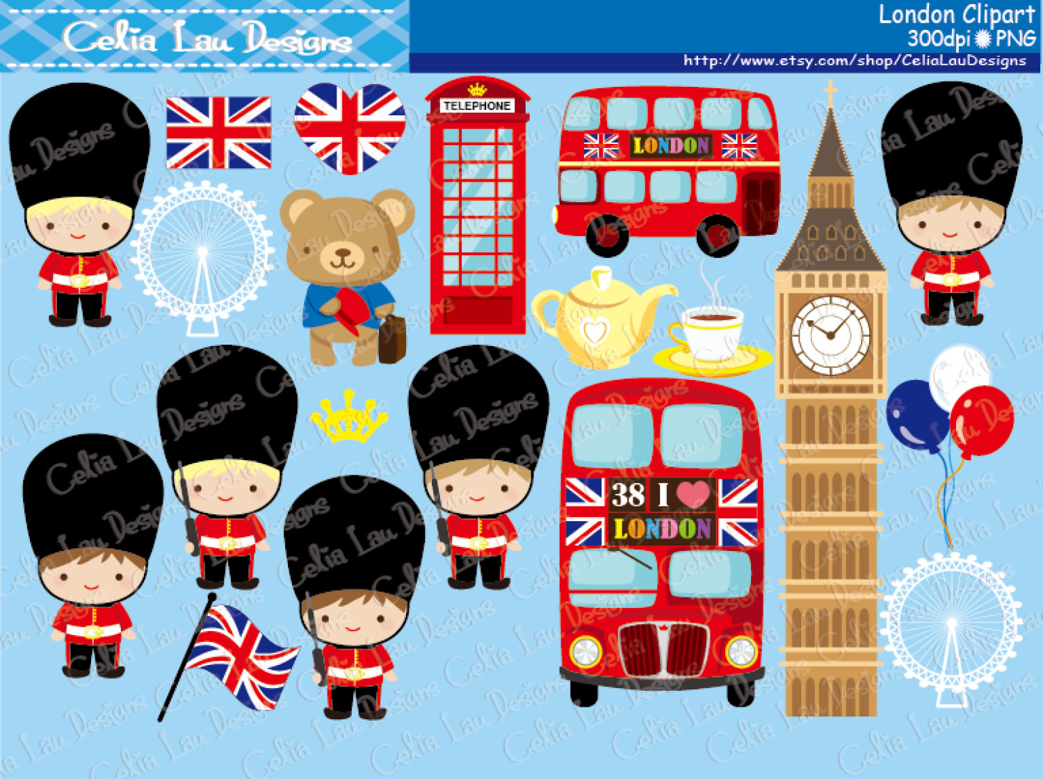Telephone Booth clipart british guard (CG128 London art Etsy Britian
