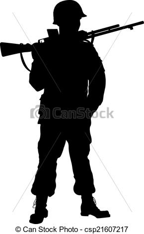Soldier clipart line drawing  Second soldier soldier Vector