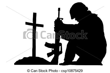 Soldiers clipart illustration A soldier  silhouette kneeling