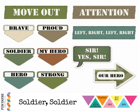 Soldiers clipart yes sir ART Instant Brown rgb CLIP