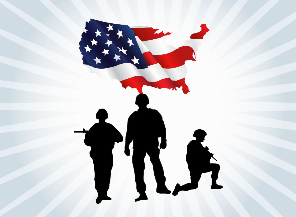 Soldiers clipart american soldier With Flag Free American Clip