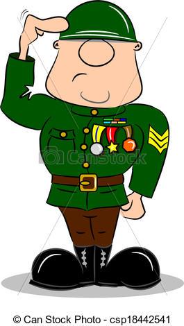 Soldier clipart cartoon Saluting Soldier Vector EPS Cartoon