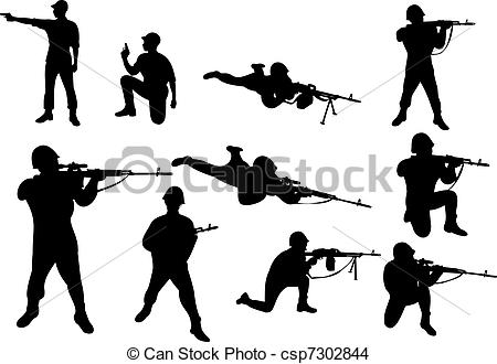 Soldiers clipart soldier shooting Csp7302844 Soldiers weapon EPS the