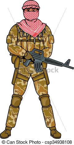 Soldier clipart vector Arabic soldier his a with