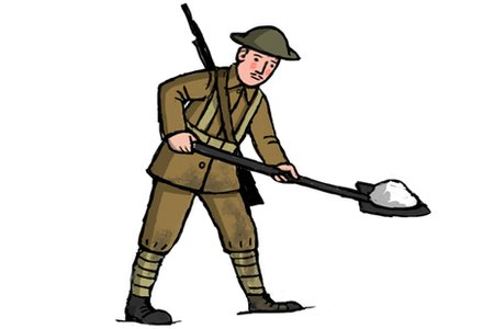 Soldiers clipart wwi soldier Schools spade illustration trench Soldier