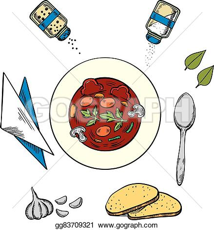 Soup clipart hot meal And Illustration white napkin condiments