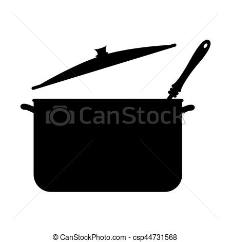 Soup clipart silhouette And with ladle pans silhouette