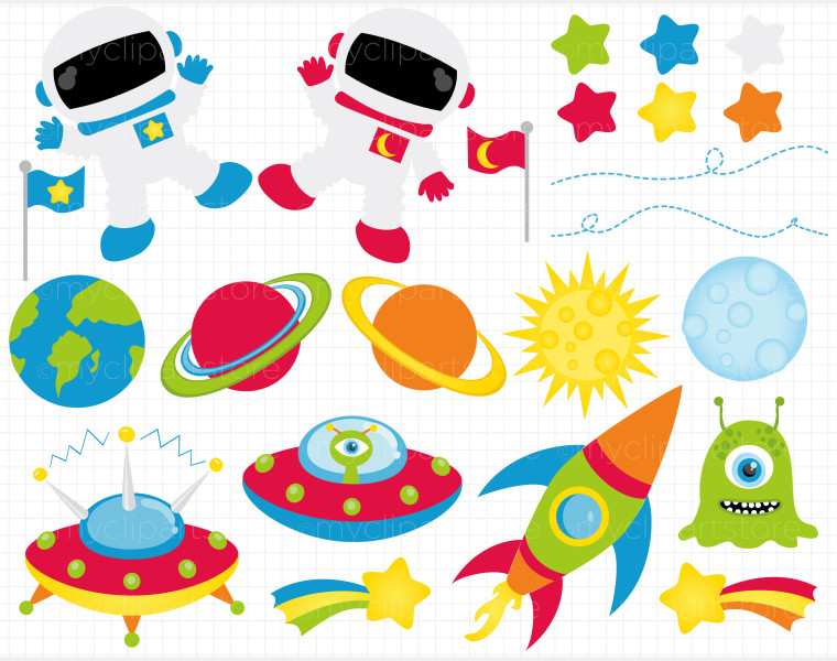 Galaxy clipart space rocket #5
