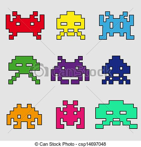 Space Invaders clipart Vector  EPS of icons