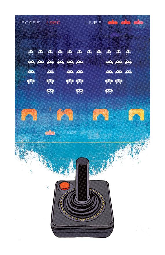 Space Invaders clipart atari game By Atari INVADERS Atari Print