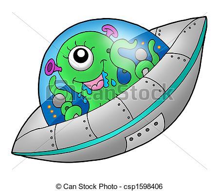 Drawn spaceship clipart Alien illustration Illustration in