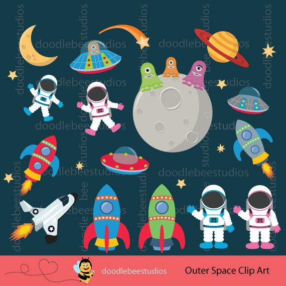 Astronaut clipart earth space Digital  Outer Spaceships Download