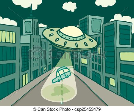 City clipart alien Or Illustration Alien or abducting