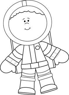 Boy clipart astronaut Black Astronaut White Black and