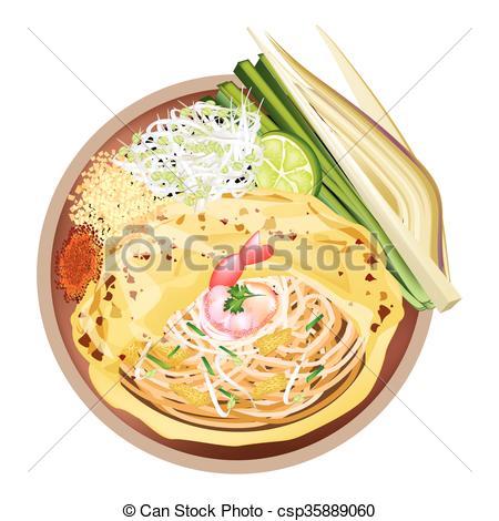 Noodle clipart fried noodle Thai or Vector csp35889060 Clip