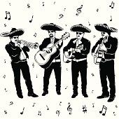 Spanish clipart mariachis Big · stylized playing tune