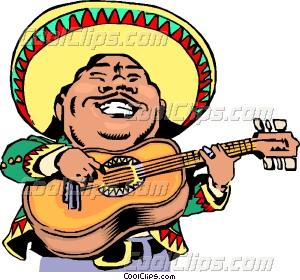 Spanish clipart mexican guitar Clip Cartoon Vector Mexican musician