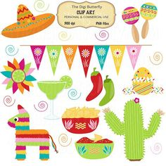 Spanish clipart mexican party Digital Clip Fiesta by Fiesta