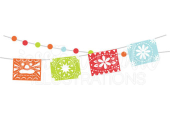 Spanish clipart mexican party Mexican Cinco Banner Bunting Clipart