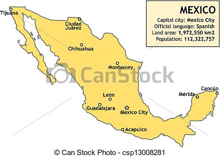 Spanish clipart mexico city Map Mexico map of csp13008281