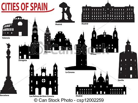 Spanish clipart mexico city Silhouettes cities of of in
