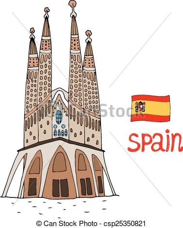 Barcelona clipart Gaud of Vector Sagrada illustration