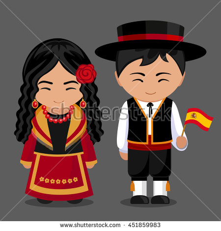 Spanish clipart spanish boy In a with in flag