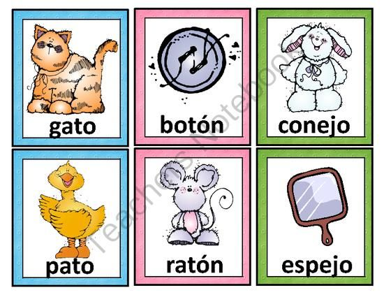 Spanish clipart spanish word Dual Spanish Words de riman
