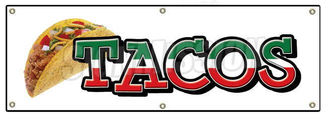 Spanish clipart taco stand Food mexico BANNER SIGN TACOS