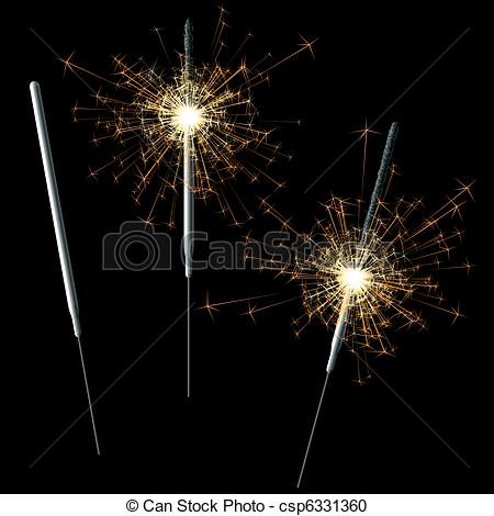 Sparklers clipart Vector Sparklers  of vector