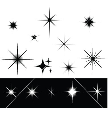 Sparkles clipart black and white #8