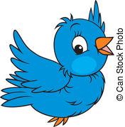Sparrow clipart Vector Little  blue flying