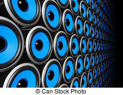 Speakers clipart blue Free wall dimensional and blue
