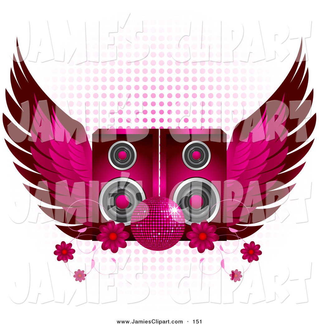 Speakers clipart disco Of Pink Glittering Ball in