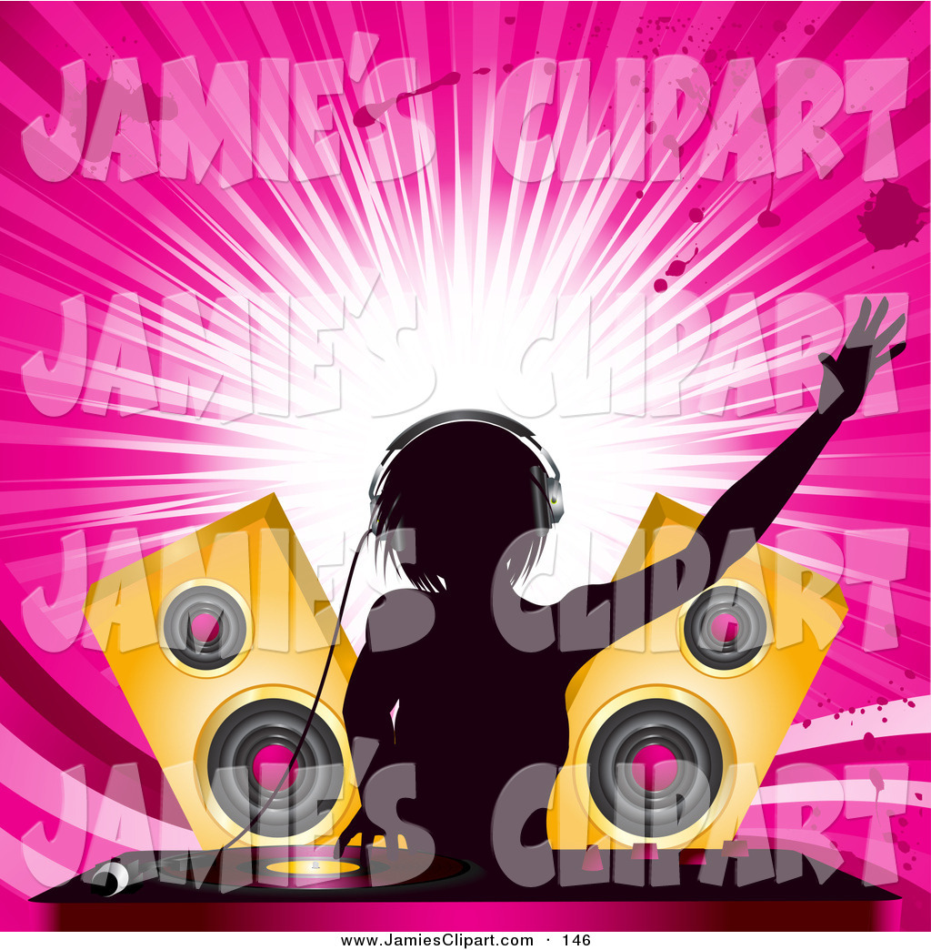 Speakers clipart dj speaker Female Dj Clipart Silhouetted Clipart