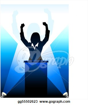 Speakers clipart silhouette Businesspolitical speaker behind a clipart