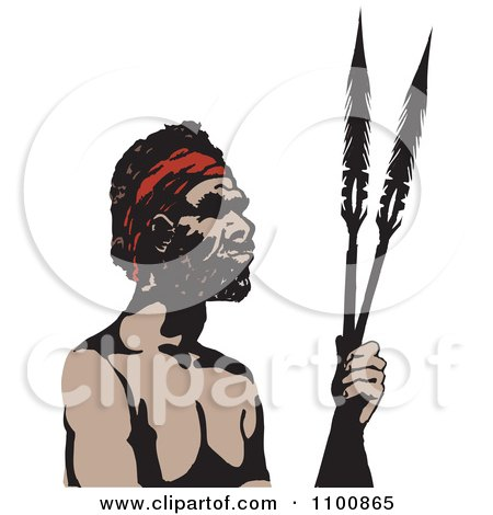Spear clipart aboriginal Man Illustration spears collection Black