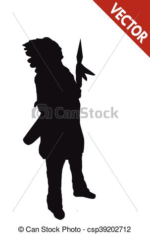 Spear clipart silhouette Of of indian Vector Silhouette