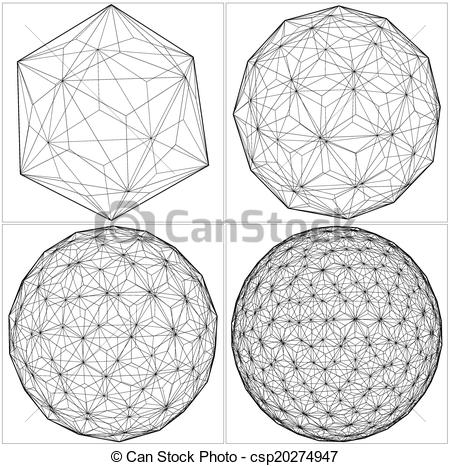 Sphere clipart line From Lines Vector Icosahedron To