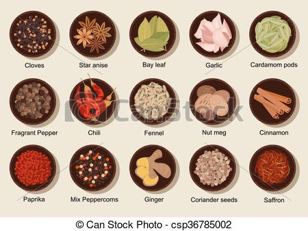Spices clipart vector Flat Natural and Clipart fresh
