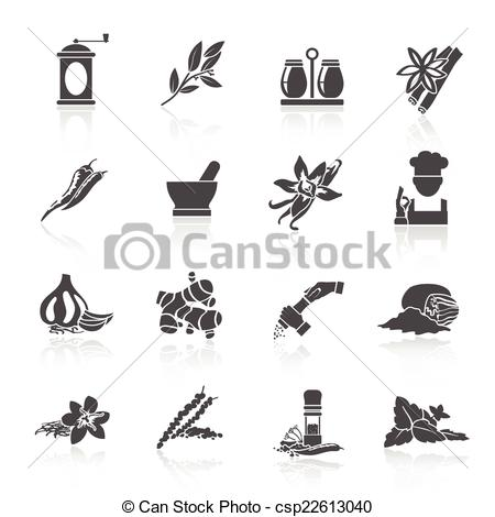 Spices clipart black and white Black Vector  Spices Herbs
