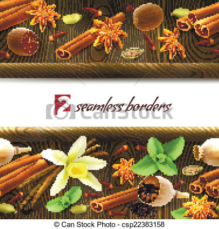 Spices clipart border Seamless csp22383158 Spices seamless borders